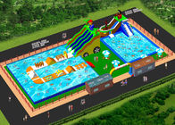 Custom Inflatable Water Amusement Park Pool Combined With Slide supplier
