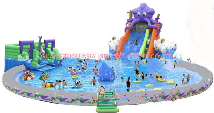 China Giant Inflatable Water Park For Kids / Inflatable Pool With Slides  Supplier