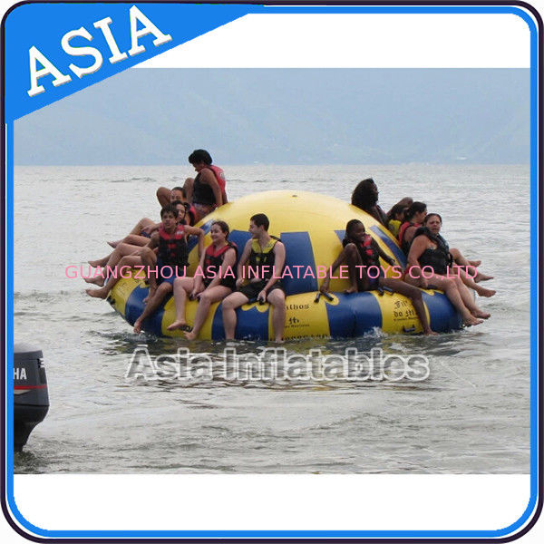 Hot Welding Yellow 12 Person Inflatable Disco Boat For Towable Water Games