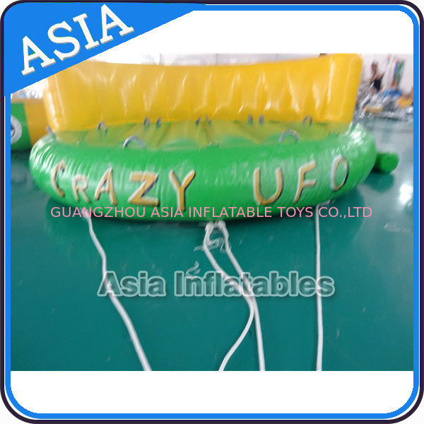 5 Person Water Ski Tube Inflatable Boats Crazy UFO Shaped 0.9mm PVC Tarpaulin supplier
