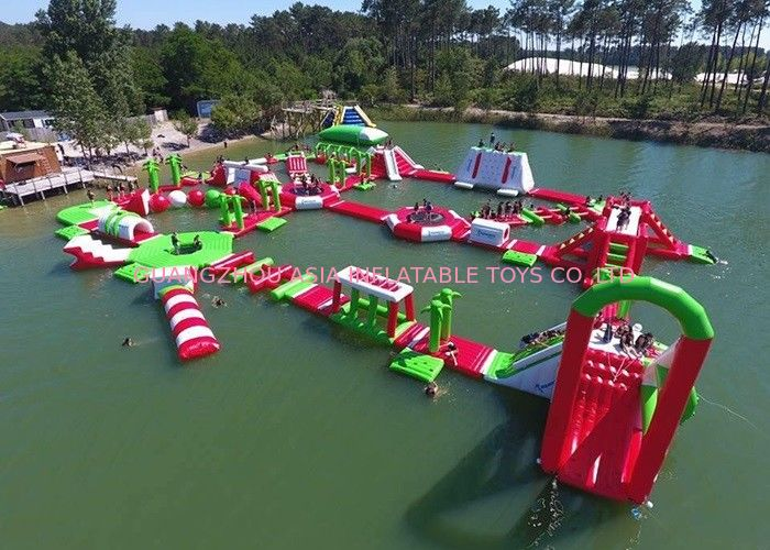 Red and Green Moving Inflatable Aqua Water Park For Sea Or lake supplier