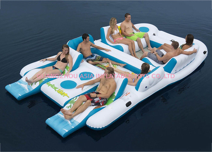Party Inflatable Floating Island For Beach Vacation , Inflatable Lounge For Lake supplier