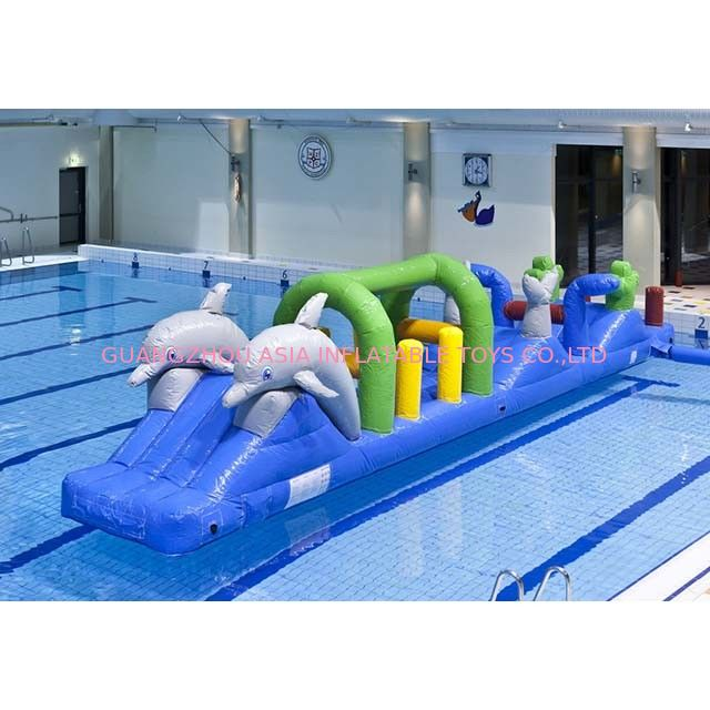 Colorful Double Dolphin 12m Aqua Run Inflatables , Blow Up Water Islands For Pool supplier