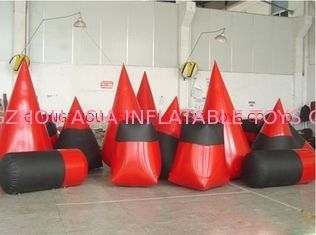 Red 0.6mm Pvc Tarpaulin Inflatable Paintball Bunker For Paintball Sports supplier