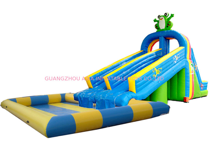 Dual Slide Inflatable Water Park Pool In Frog Design For  : pl2332759 dualslideinflatablewaterparkpoolinfrogdesignforkidsandadult from www.inflatable-zorb-ball.com size 800 x 600 jpeg 64kB