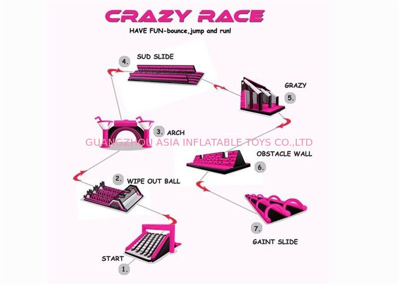 Insane Pink Color Rush Challenge Commercial Inflatable Obstacle Course supplier