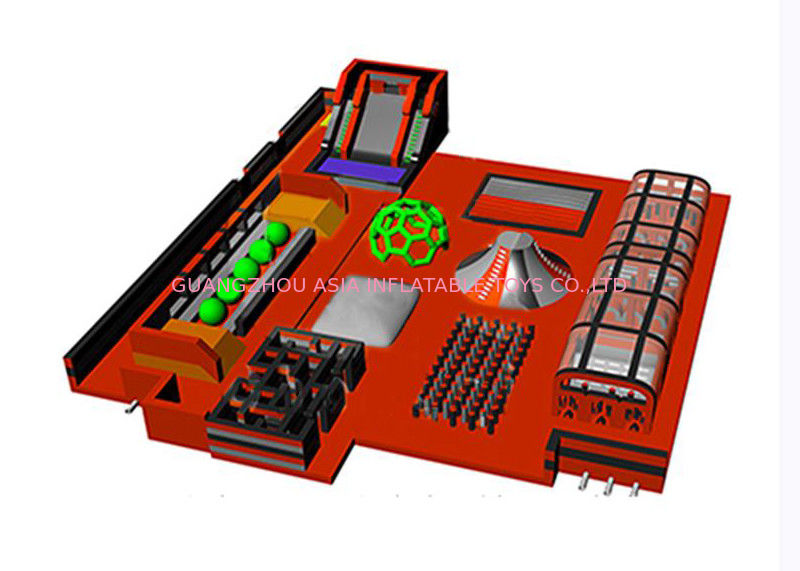OEM Orange Indoor Slide Inflatable Trampoline Park With Obstacle supplier