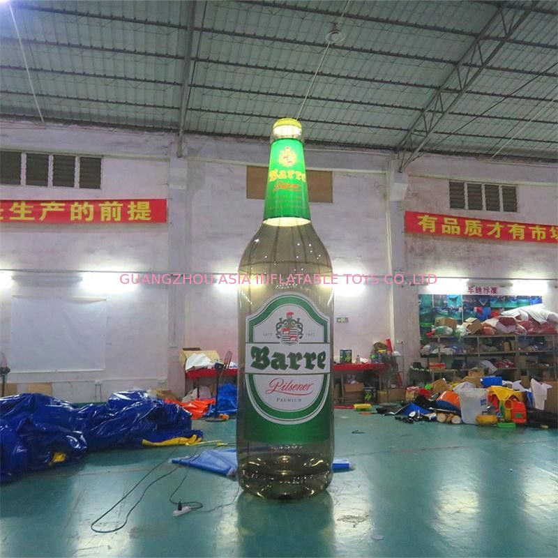 4m High Advertising Inflatables / Brown Inflatable Beer Bottle With Lighting supplier