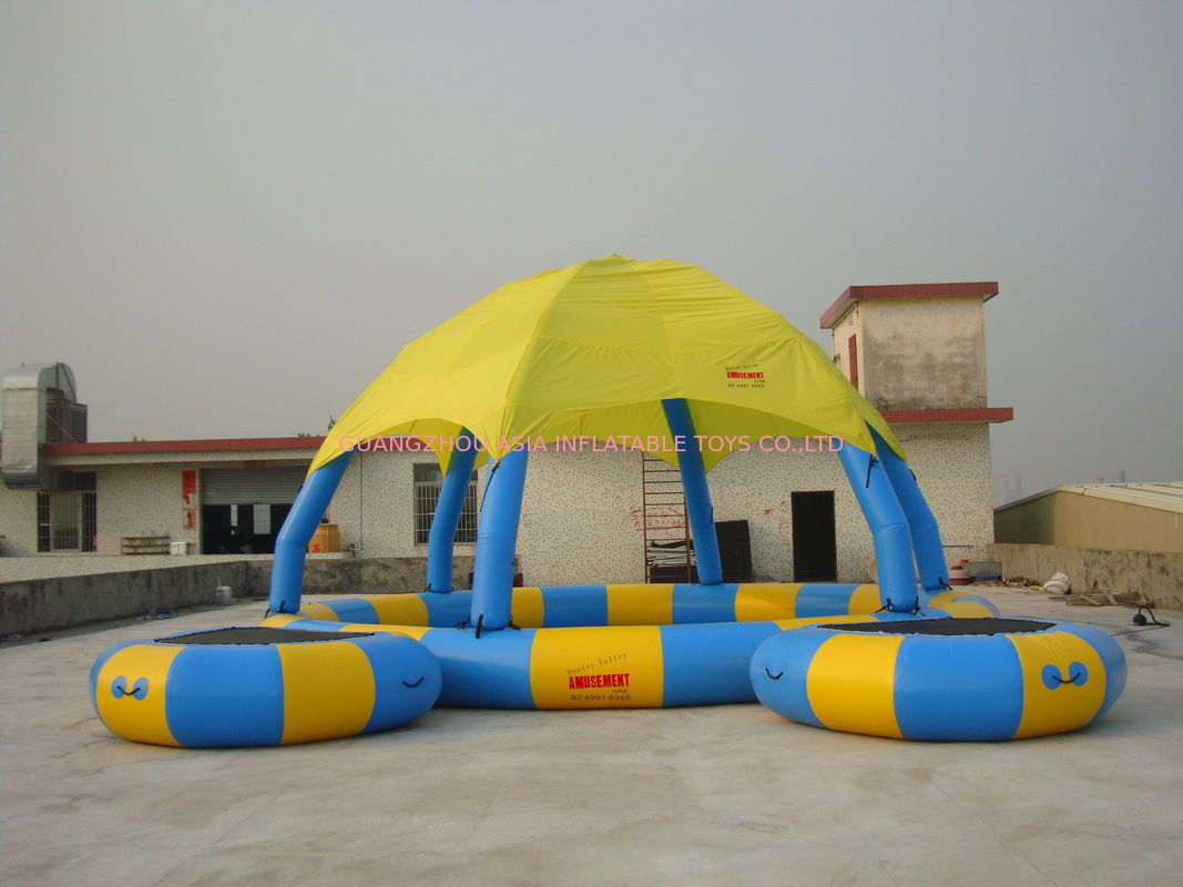 Blue And Yellow 8m Diameter Kids Inflatable Pools With Trampoline UV Protected supplier
