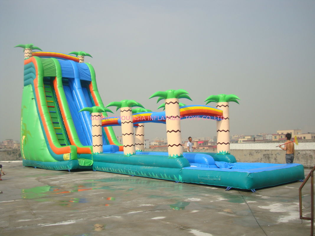 Commercial Grade Inflatable Pool Slide with Palm Trees