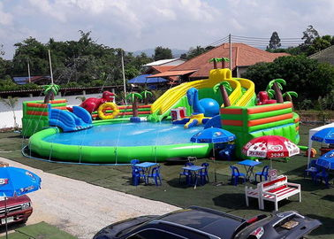 Inflatable Giant Mobile Water Park Site , Funny And Commercial Swimming Pool Park Equipment