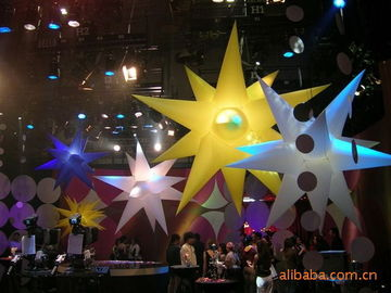 Colorful Inflatable Lighting Star With 2 Meters LED Decoration Light