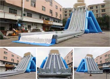 Blue And Grey Giant Inflatable Lagest  Water Wave Slide For Event With Five Lanes