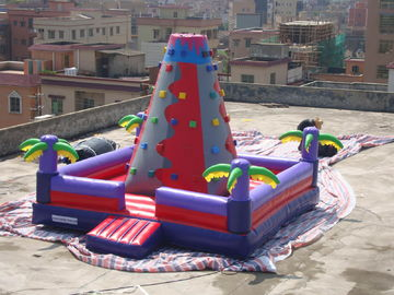 Bright Coloured Rock Climbing Wall And Safe Pool In Inflatable Amusement Park