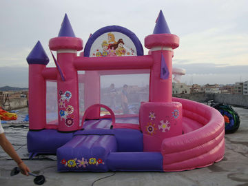 Pink Inflatable Amusement Park With Mini Princess Bouncer Castle With Slide