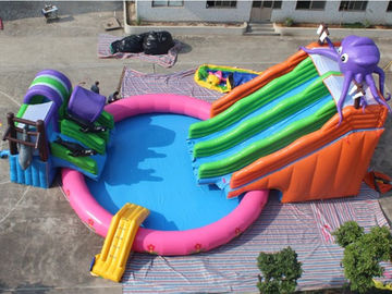 Hot Selling Exciting Octopus Inflatable Water Park Games with double slides and pool