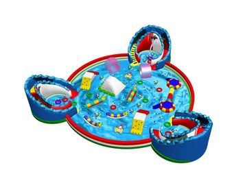 Commercial Inflatable Water Park WithThree Slide Bouncers