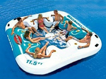 Water Proof Fiesta Inflatable Floating Island , Family Inflatable Boat