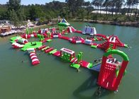 Red and Green Moving Inflatable Aqua Water Park For Sea Or lake