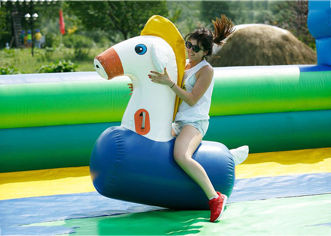 Pvc Tarpaulin Inflatable Horse Racing Game For Kids 3 Years Warranty